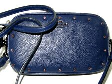 Coach 38931 Cadet Blue Crystal Rivets Leather Crossbody Clutch Handbag NWT $225