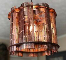 "12"" Handmade Modern Light Diffusing Mahogany Birch Wood Shade LED Pendant Light"