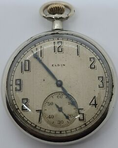 Antique Working 1925 ELGIN Art Deco Silver Gents Open Face Pocket Watch 12s