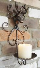 Country Style Wall Mounted Stags Head Antlers Tea Light Pillar Candle Holder