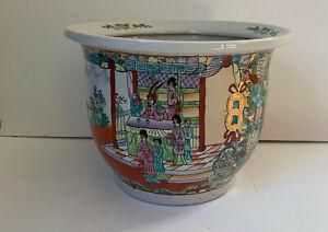Vintage Hand Painted  Asian Porcelain Planter Jardiniere signed EUC