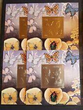 ABHAZIA BUTTERFLIES 4 BLOCKS GOLD +SILVER PERFORED MNH