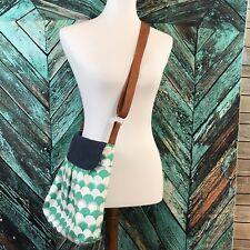 Green and White Scallop print crossbody bag purse brown adjustable strap P9