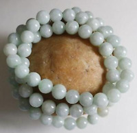 8mm  Certified Natural Untreated Light Green Jadeite Jade Round Beads Necklace