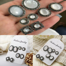 Alloy Stud Earrings Jewelry Gift 4 pair/set Personality Women Resin
