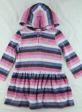 GYMBOREE Girls SUPER STAR Pink Striped Velour Hooded Dress Size 4