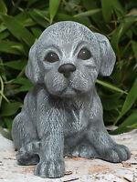 Steinfigur Weple sitzend Schiefergrau Steinguss frostfest Hundefigur Gartendeko