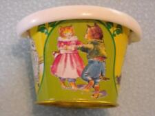 Shackman NY Coin Bank Tin Pail w Lid Kitty Girls Dancing Cats Vintage Piggy