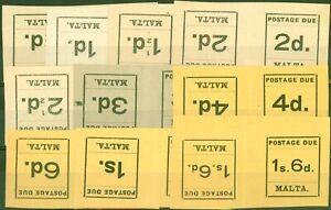 Malta 1925 P.Due Tete-Beche set of 10 SGD1a-D10a V.F Very Lightly Mtd Mint