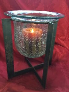 FLAWLESS Stunning RUSTIC Crackle Art Glass CANDLE HOLDER VASE Metal STAND HOLDER