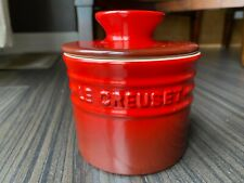 """LE CREUSET Stoneware 6 oz Cerise Cherry Red 4"""" Butter Bell Crock Dish w Lid"""