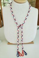 "Vtg Red White Blue Acrylic Beaded Tube Woven Rope Necklace 40"" Tassel"