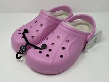 Crocs Pink Fur Lined Classic Clog Women's Size 9