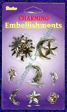 Celestial Charms Embellishment Accents Sun with Goddess Star Shooting Star Moon