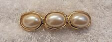 Tone Faux Pearl Costume Stones Ds-7 Classic Pin Brooch Three Oval Design Gold