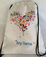 PERSONALISED Gym BAG for Sports, Swim, PE, Dance -Butterfly Heart Christmas Gift