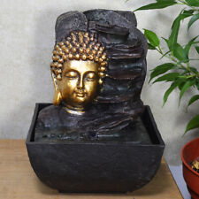 Golden Buddha Head Aside Rocks Water Fountain With Light Perfect Indoor Feature