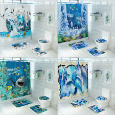 Shower Curtain Sea and Shark Printing Toilet Cover Mat Set Bathroom Carpet Rug
