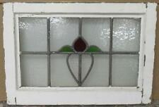 "OLD ENGLISH LEADED STAINED GLASS WINDOW Simple Floral 21"" x 14.5"""