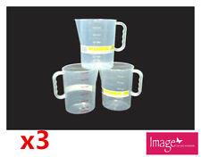 3pcs Measuring Jug Graduated 1500ml Plastic Clear Transparent Jug Cup Q112992