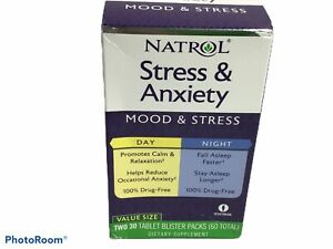 Stress & Anxiety, Day & Night, Two 30 Tablet Blister Packs (60 Total)