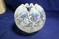 Vintage Opalescent  Crimped Top Vase/Bowl Frosted White, Blue and Clear