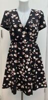 BNWOT New Designer Jaeger Boutique Black Pink Floral Occasion Mini Dress Size 10