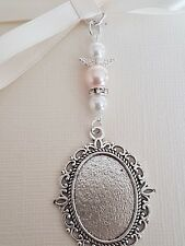 Wedding Bouquet Charm Oval Silver Locket Pendant Ivory and Pale Pink pearls