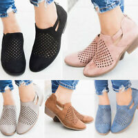 Women's Casual Hollow Out Shoes Low Heels Zipper Sandals Breathable Summer Boots