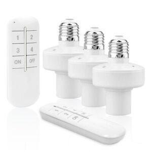 Wireless Remote Control E27 Light Socket Lamp Holder 20M Range For LED Bulbs
