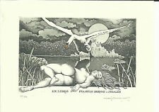 Leda + Schwan Erotisches Exlibris Paolo Rovegno Erotic Nude Leda + Swan