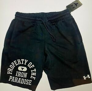 UNDER ARMOUR MENS PROJECT ROCK PROPERTY OF IRON PARADISE SHORTS LARGE