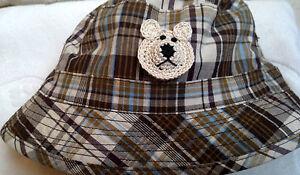 NEW NWOT BUCKET HAT HANDMADE BEAR 18 24 MONTHS 3 4 3T 4T YEARS BOYS BROWN PLAID