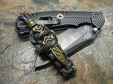 CAMO 550 PARACORD KNIFE LANYARD W/ BRONZE SWORD & BEAD AMERICAN MADE