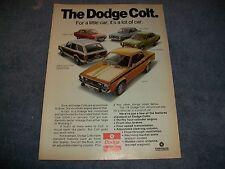 """1974 Dodge Colt GT Wagon Vintage Color Ad """"For a Little Car. it's a Lot of Car"""""""