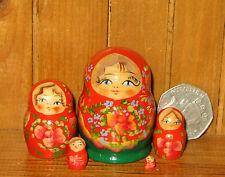 MINIATURE Matryoshka Russian Nesting dolls 5 hand painted tiny RED GREEN signed