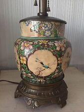 Antique Old Chinese Hand Painted Porcelain Enamel Bronze Table Lamp Asian Art