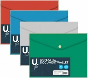 A4 Document Wallets 4 Pk Files Folders Assorted Colours Back to School Office