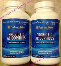 2X Probiotic Acidophilus 100 Million Active Cultures 250 CAPSULES Each = 500 CAP