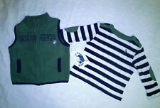 GREAT BOYS RUGGED BEAR GREEN GILLET & NAVY & CREAM TOP SET  BNWT AGE 18 MONTHS