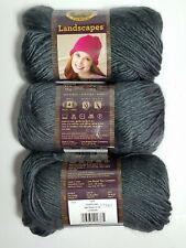 3 Skeins Lion Brand Landscapes 100% Acrylic Yarn 147 Yds. 3.5 oz. ea. Charcoal