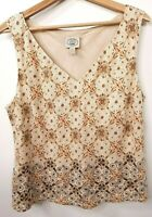 Laura Ashley Vest Top Size 16 UK Womens Beaded Beige Vintage 100% Linen