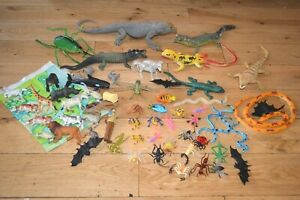 Toy Plastic Rubber Animal Figures Bundle Reptiles, Insects Farm zoo lot