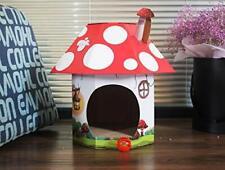 furpawz Cat House with Catnip Corrugated Cardboard Scratch Pad (Mushroom)