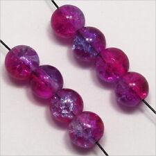 Lot de 50 Perles Craquelées en Verre 6mm Fuchsia Bleu