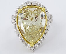 9.46 ct 18K 2-T Gold Pear Shape Natural Fancy Yellow Diamond Engagement Ring GIA
