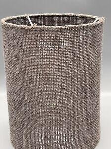 "Dark Gray Burlap Cylinder Lamp Shade 9"" Height X 7 1/4"" Diameter Drum Shape"