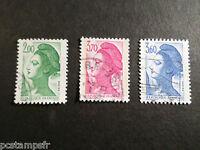 FRANCE - 1987, timbres 2484/2486, Liberté, oblitérés