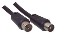 AERIAL LEAD 5m COAX RF FLY CABLE MALE TO FEMALE TV BLACK