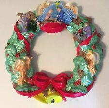 Rare Christmas Wreath Arnel's Ceramic Nativity 1984 Vintage. 18 Inch. X 18 Inch.